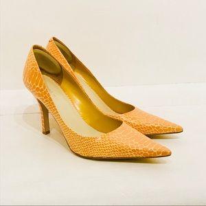 NINE WEST Yellow Snakeskin Leather Pumps sz 8